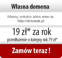 Własna domena internetowa 19zł netto za pierwszy rok, 79 zł za przedłużenie